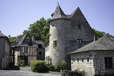 Condat-sur-vézère, Dordonya, Perigord, França, casa aturar-encreuament, Castell, Castell