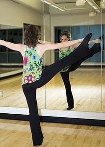 gimnàs, femella, model de, l'exercici, dones, l'interior, persones