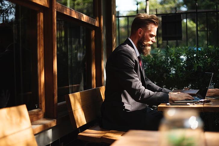 people, boss, business, man, sitting, laptop, computer