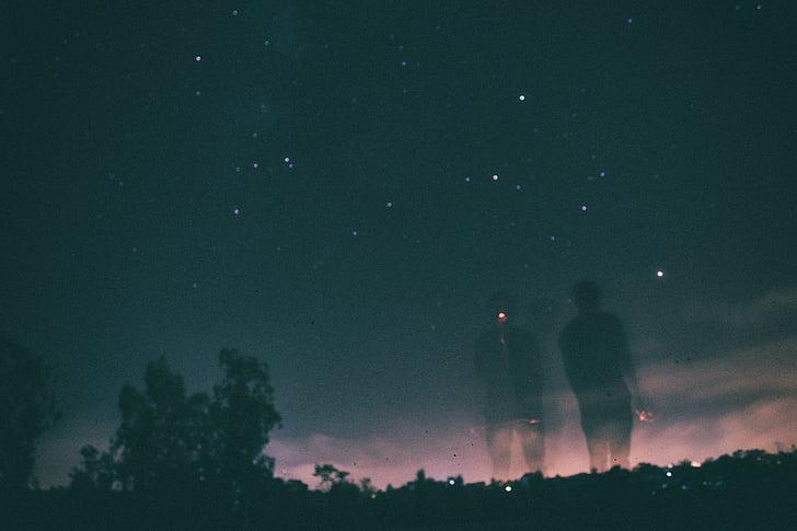du, šešėlis, naktį, laikas, žvaigždė, žvaigždžių šešėlis, siluetas