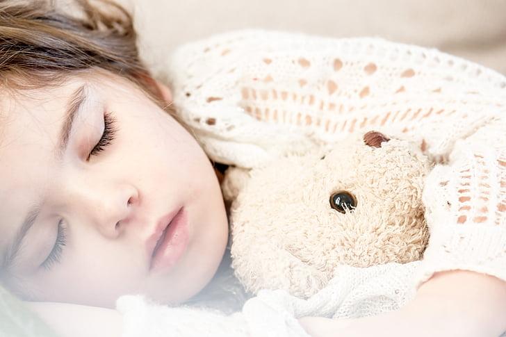guļ, bērnu, napping, meitene, mazulis, maz, piemīlīgs