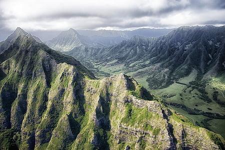 Hawaii, muntanyes, cel, núvols, Vall, barranc, congost