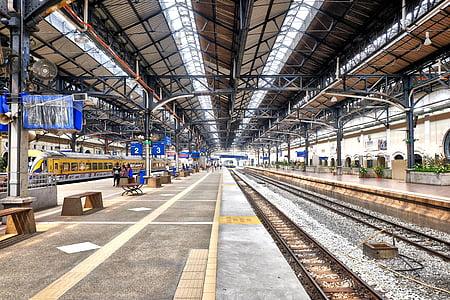 innendørs, linje, plattform, jernbane, stasjon, stål, Terminal