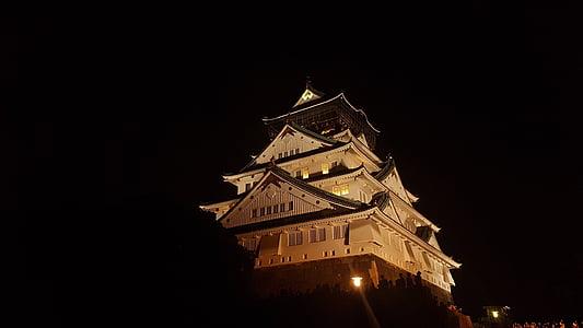 osaka castle, osaka, japan, night view, construction, castle, night