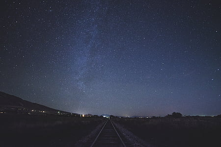 train, rail, dark, skies, stars, sky, night