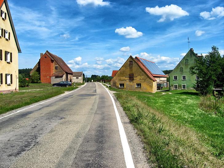 Německo, Bavorsko, vesnice, cesta, obloha, mraky, Domů