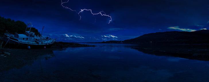Šotimaa, välk, Beach, Mulli saar, öö, tähed, kõu