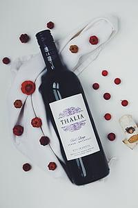 ampolla de vi, vi negre, fruita, vi, vermell, suro, ampolla