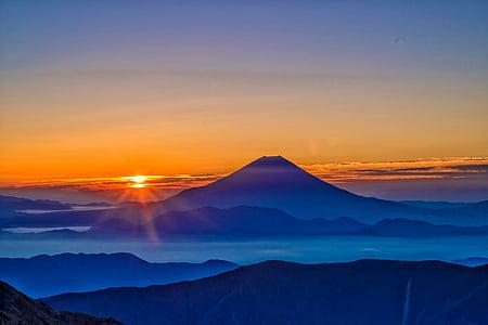 Monte fuji, nascer do sol, névoa da manhã, Alpes do Sul do outlook, Outubro, Japão, pôr do sol