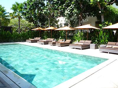 svømmebasseng, Indonesia, Bali, ved bassenget, avslapning, basseng, svømming