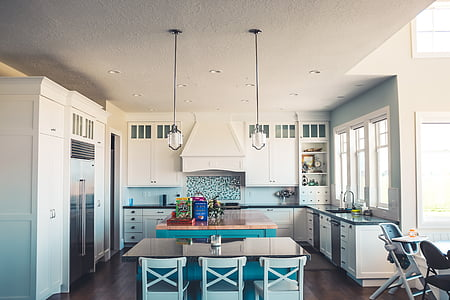 casa, interior, disseny, cuina, menjador, àrea, taula