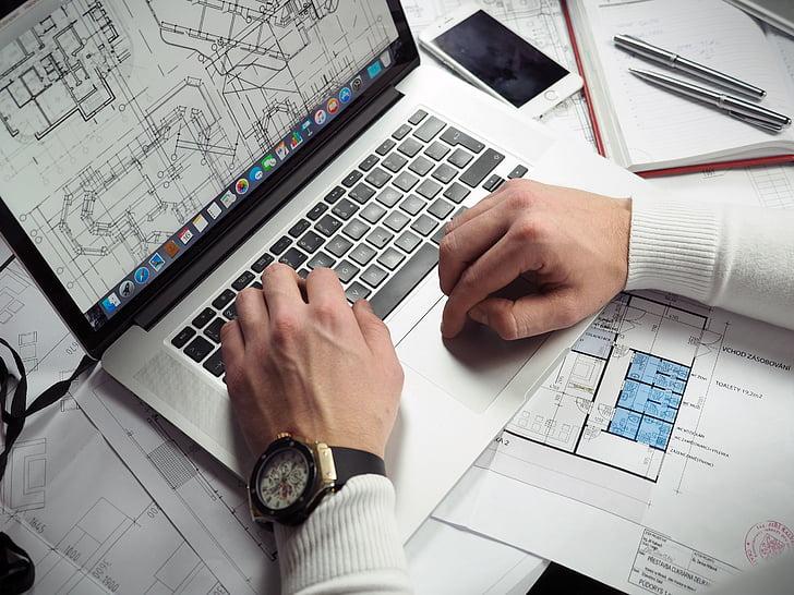 man, using, macbook, pro, beside, iphone, office