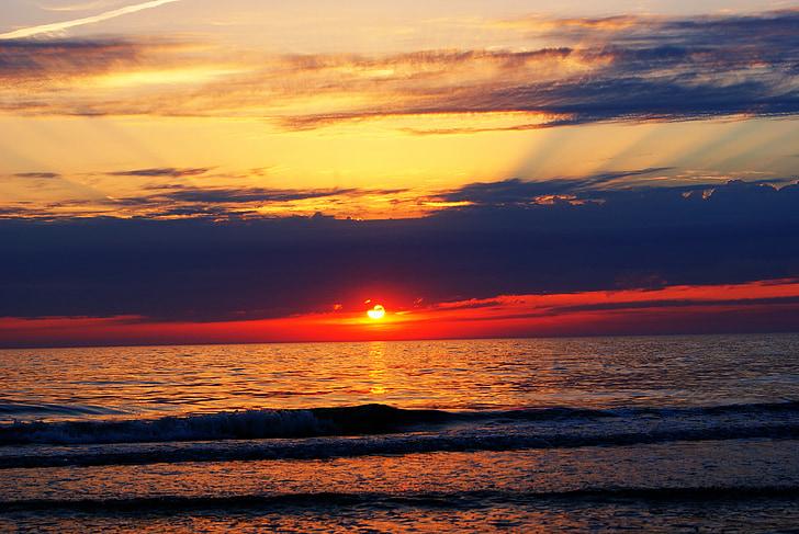 sol, platja, posta de sol de color, sol ponent, l'aigua, posta de sol, paisatge
