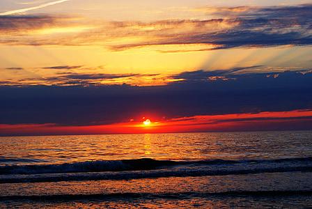 slnko, Beach, farebné sunset, zapadajúce slnko, vody, západ slnka, Príroda