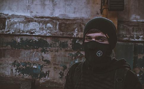 màscara, Retrat, gorra, home, anonimat, lluita contra
