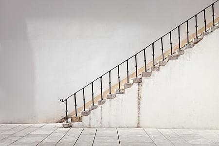 arhitektuur, struktuur, seina, siseruumides, trepid, trepp, põrandakate