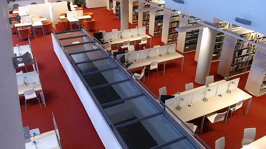 library, study, academic library, architecture, modern, balcony
