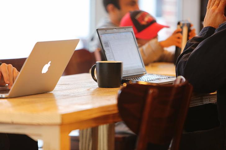 ābolu, uzņēmējdarbības, klients, rakstāmgalds, Portatīvie datori, MacBook, biroja