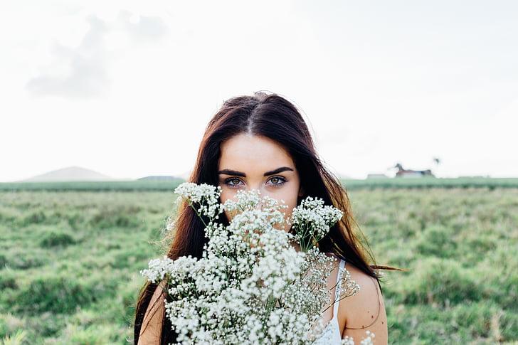 noor naine, lillekimp, naine, noor, kimp, emane, Tüdruk