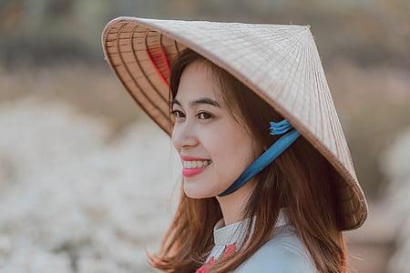 vietnamese, girl, conical hat, asian, chinese, vietnam, woman