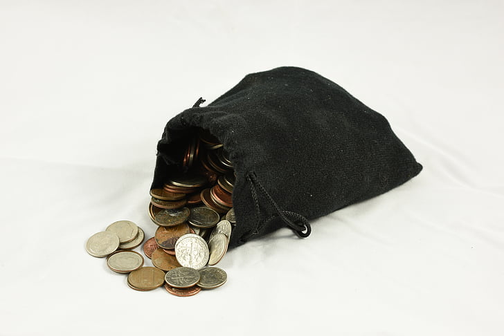bag of coins, coin purse, money, drawstring bag, pouch, treasure, currency