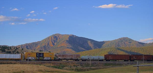 tren, oeste, ferrocarril de, ferrocarril, locomotora, transporte, transporte