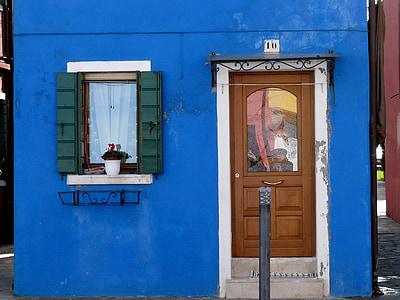 บ้านที่มีสีสัน, บ้านเก่า, สตรีท, สีฟ้า, windows, สี, เวนิส