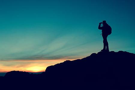 Hiker, siluett, Mountain, topp, äventyr, vandring, resor