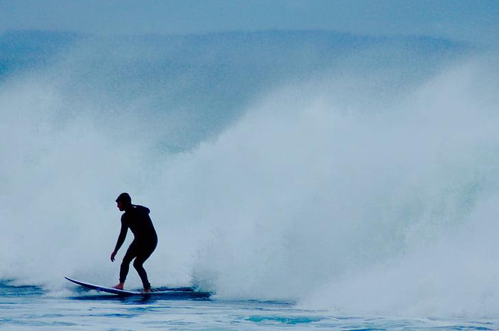 surfista, surf, ona, navegar per, oceà, l'aigua, taula de surf