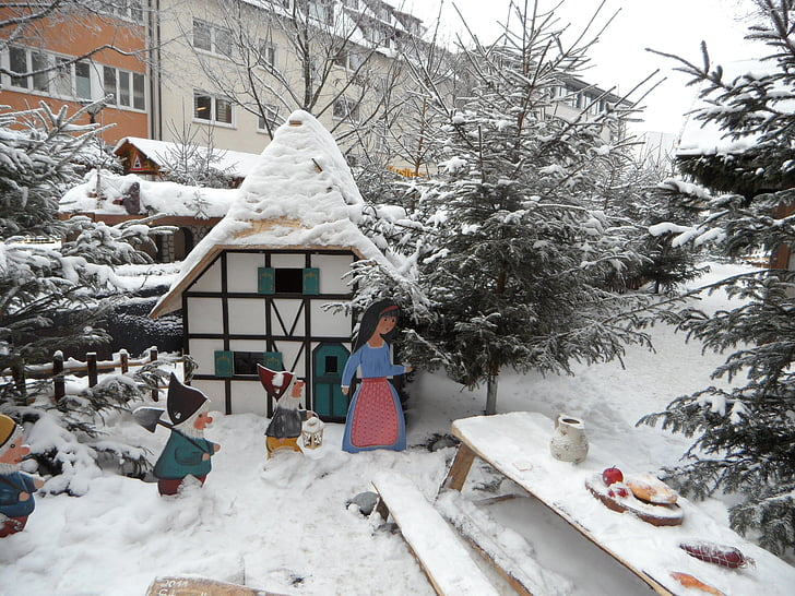 Snøhvit, eventyr, eventyr skog, hytte, snø, snø, dverger