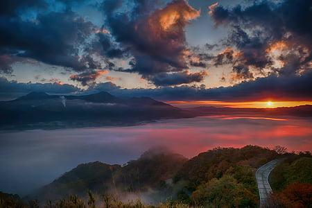 japan, kumamoto, aso, asahi, minami aso, tawarayama, sea of clouds