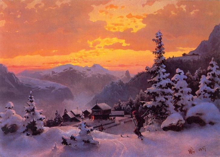 hans vinteretter, konst, konstnärliga, konstnärskap, målning, olja på duk, landskap