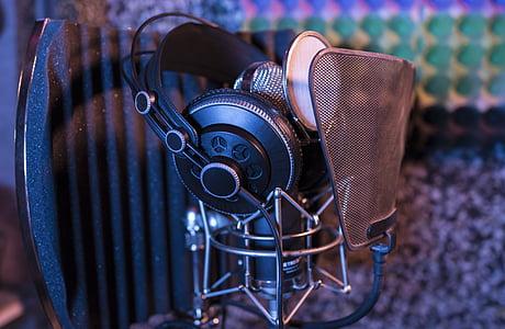 audio, close-up, condenser microphone, equipments, headphones, microphone, pop filter
