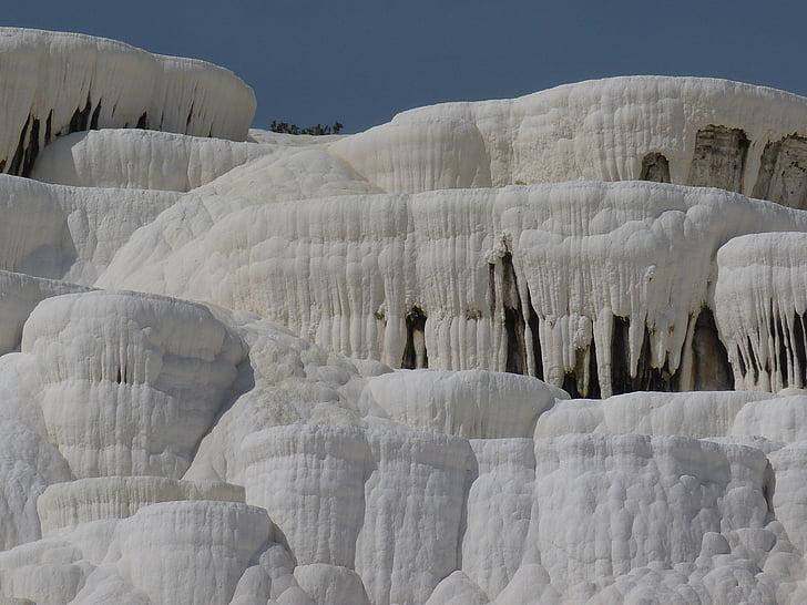 vapno sinteriranje terasa, Pamukkale, Turska, vapnenac, mineralna, bijeli, svjetske baštine