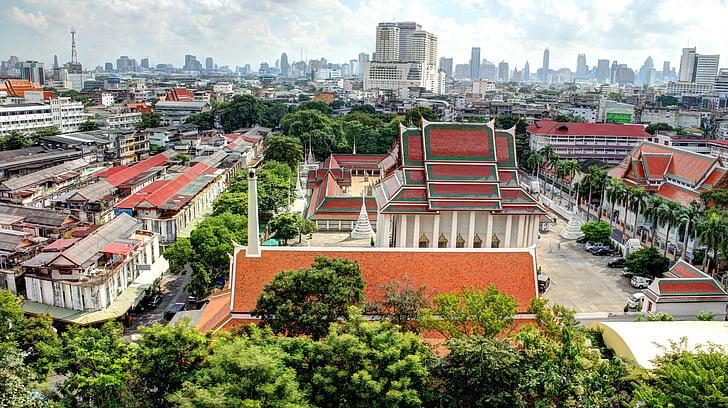 bangkok, thailand, temple, cityscape, hdr, city, skyline