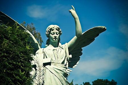 kirkegård, grav, gravsten, figur, Angel, grav figur, Angel figur