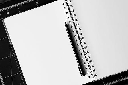 máy tính xách tay, bút, Bàn, trống, Bàn, giấy, lưu ý