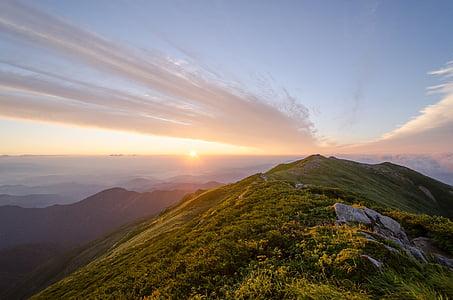 Mountain, IIDE berg, Japan, soluppgång, morgon glöd, landskap, bergsklättring