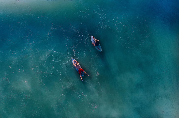 two, surfers, top, surfboards, body, water, people
