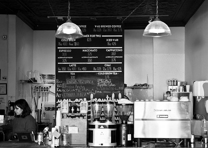 gray, scale, photo, cafe, business, establishments, shops