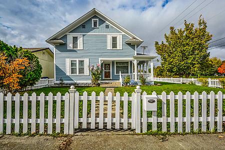 Immobiliària, casa, casa, piquet, tanca, Immobiliària, residencial