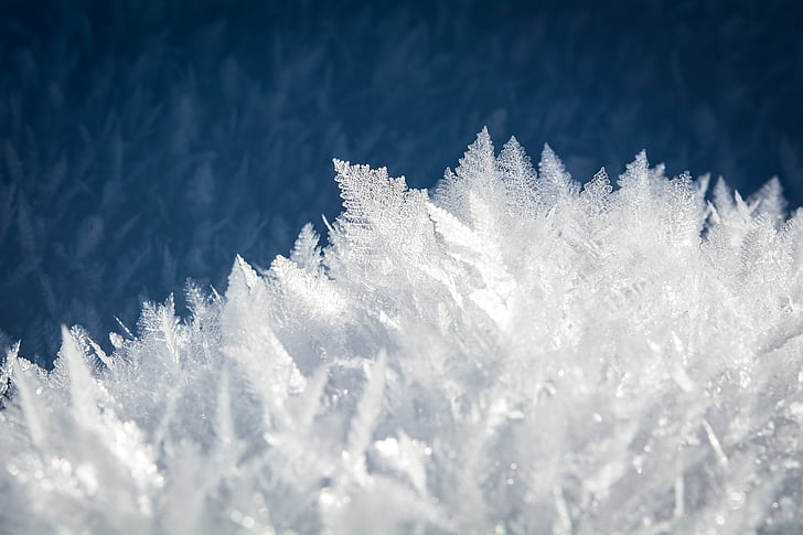 es, eiskristalle, salju, es, kristal, musim dingin, beku