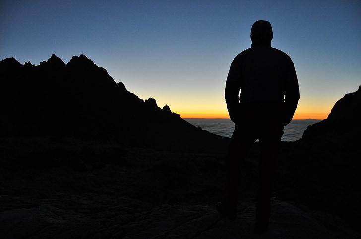 sunset, dusk, silhouette, man, guy, people