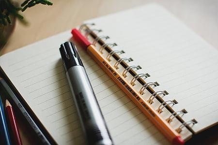 màu xám, bút, máy tính xách tay, bút chì, đánh dấu, Notepad, bằng văn bản