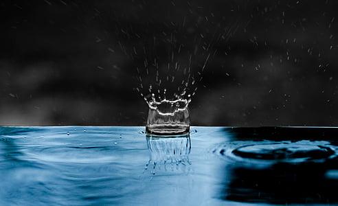 gota d'aigua, impacte, l'aigua, blau, esquitxades, líquid, energia