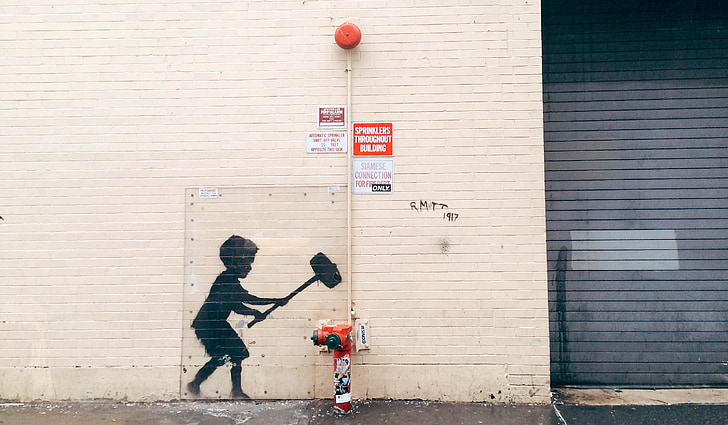 street art, urban, banksy, wall, boy, urban Scene, people
