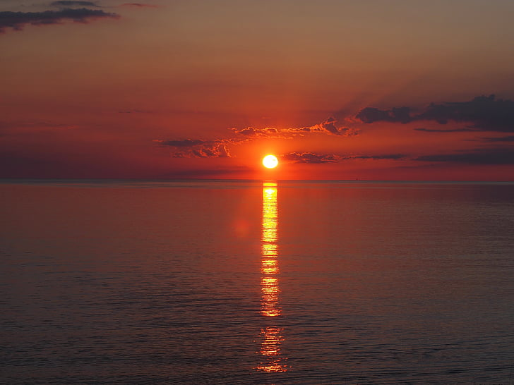 salida del sol, Mallorca, Mañana, cielo, Playa, sol, morgenrot
