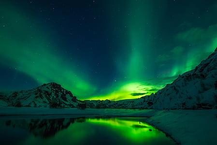 Islande, Aurora borealis, Kāvi, skaists, saulriets, naktī, debesis