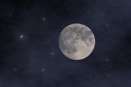 Lluna, cel, celebritats, la plenitud de, nit, Lluna plena, espai