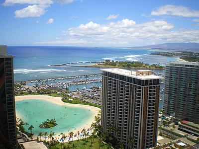 Hawaii, trópusi, homok, nyaralás, hullám, a Hotel, Resort